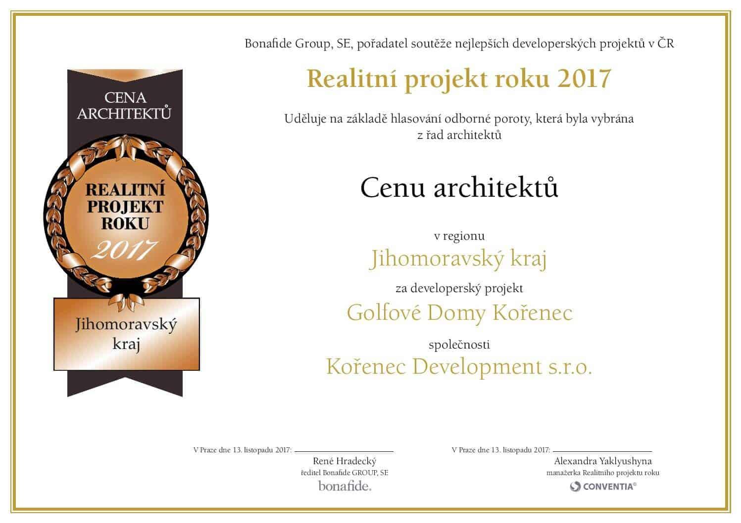 Projekt Develorie, golfové domy na Kořenci, získali cenu Projekt roku 2017.